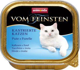 Вом Фейнштен корм консерва для кастрированных стерилизованных кошек и котов индейка и форель 100гр, Анимонда