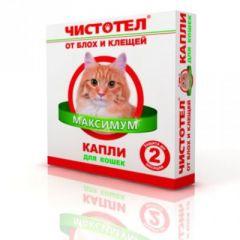 Чистотел МАКСИМУМ капли на холку от блох и клещей для кошек