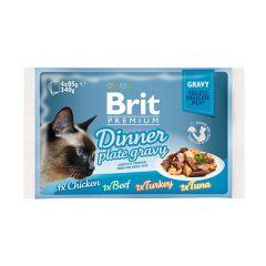 Влажный корм Brit Premium Набор паучей для кошек Dinner Plate Gravy Кусочки в соусе 4 по 85 г