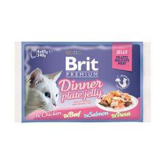 Влажный корм Brit Premium Набор паучей для кошек Dinner Plate Jelly Кусочки в желе 4 по 85 г