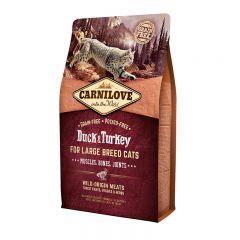 Carnilove Cat Adult Large Duck & Turkey сухой беззерновой корм с уткой и индейкой для взрослых крупных кошек