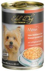 Edel Dog Консервы для собак Кусочки с птицей и морковью в соусе