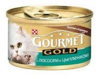 Gourmet Gold кусочки в соусе с лососем и цыпленком