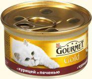 Gourmet Gold (Гурмет Голд ) корм консервы для кошек кусочки в соусе с курицей и печенью