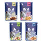 Brit Premium Fillets in Jelly for Adult Cats (пауч) Консервы для кошек Кусочки филе в ЖЕЛЕ: курицы, говядины, лосося или форели