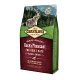 Carnilove Cat Duck & Pheasant Hairball Control сухой беззерновой корм с уткой и фазаном для выведения комков шерсти для взрослых кошек и котов