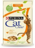 Cat Chow Adult влажный корм консервы для взрослых кошек с курицей и цуккини в желе пауч